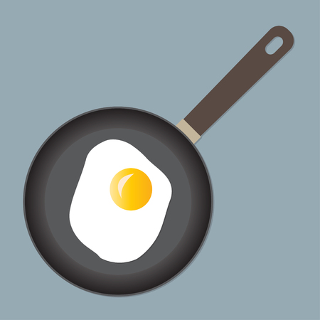 Fried egg on frying pan. Colorful vector illustration. Banco de Imagens - 85185937