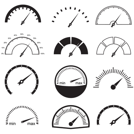dashboard: Speedometer or gauge icons set. Infographic and car instrument design elements. Vector illustration.
