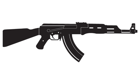 Submachine gun icon or sign isolated on white background. Kalashnikov or AK47 black silhouette. Vector illustration.