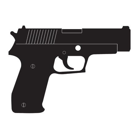 총 아이콘 흰 배경에 고립입니다. 벡터 권총 실루엣입니다. 일러스트