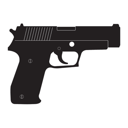 Gun icon isolated on white background. Vector pistol silhouette. Illustration