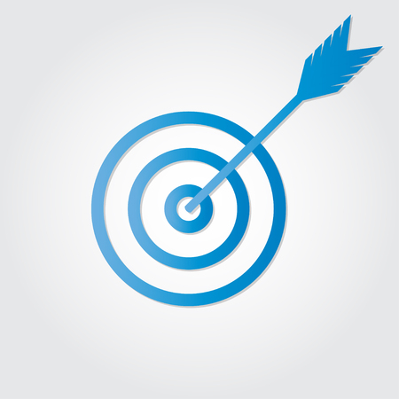 Target with arrow icon or sign. Vector isolated illustration.