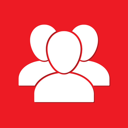 Group of people icon isolated on red background. White silhouette of people. Vector illustration.