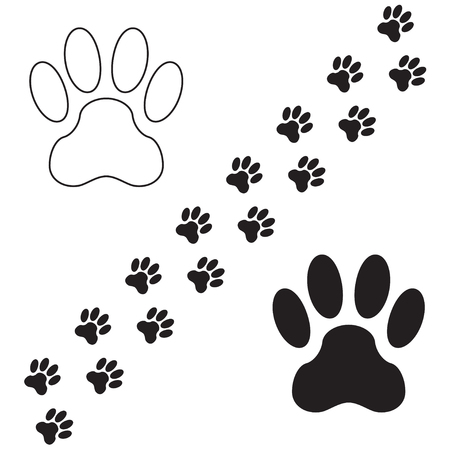 Footprints of a dog isolated on white background. Animal paw icon or sign. Vector illustration.