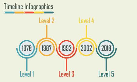 Plantilla de infografía Timeline. Elementos de diseño aislado. Ilustración de vector colorido.