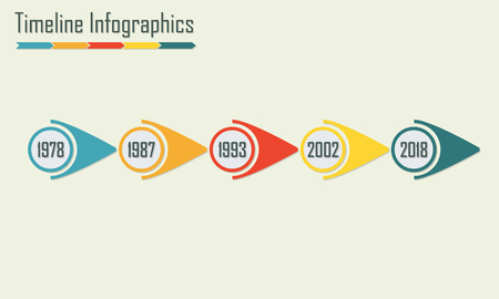 Plantilla de infografía Timeline. Elementos de diseño Horisontal. Ilustración de vector colorido. Ilustración de vector