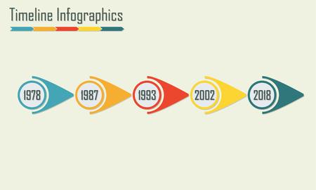 cronologia: Timeline Infographics template. Horisontal design elements. Colorful vector illustration.