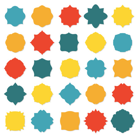 scraps: Blank frame and label set isolated on white background. Colorful vector design elements. Illustration