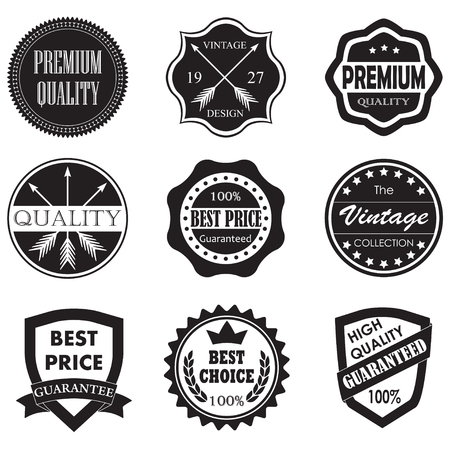 certificate template: Premium quality, best price, vintage design badges and labels set isolated on white background. Vector illustration. Illustration