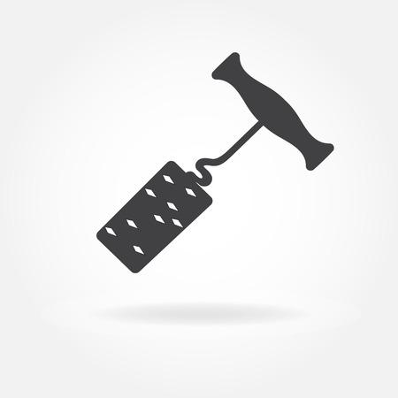 Corkscrew or opener for wine bottle with cork. Vector illustration. Illustration