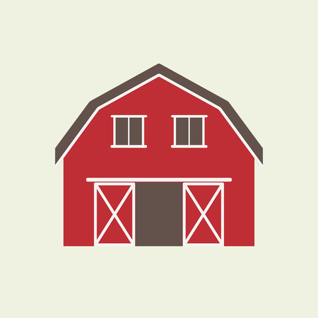 Barn house icon or sign isolated on white background. Vector illustration of red farm house. Stock Illustratie