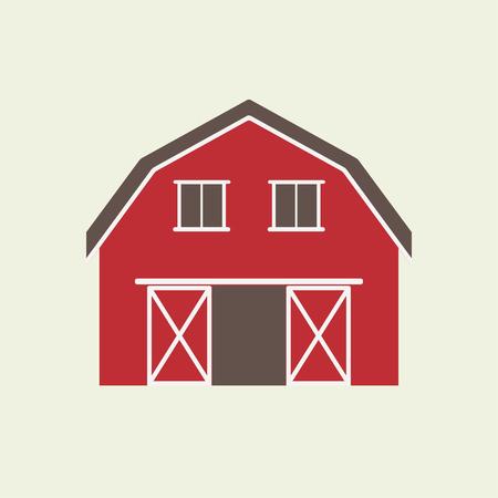 Schuur huis pictogram of teken geïsoleerd op een witte achtergrond. Vectorillustratie van rode boerderij. Vector Illustratie