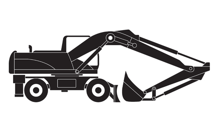 Excavator. Black detailed illustration isolated on white background. Transportation vector icon.