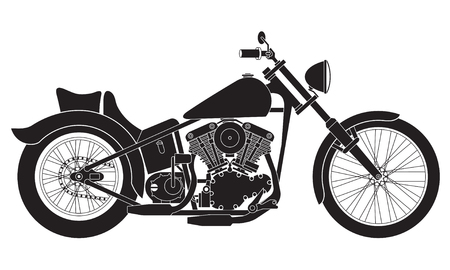 Motorcycle icon or sign. Black detailed silhouette of bike isolated on white background. Vector illustration.