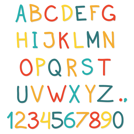 Alphabet. Hand drawn letters and numbers isolated on white background. Colorful vector illustration.