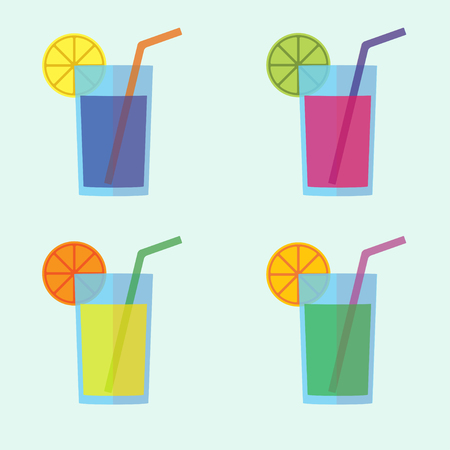 Cocktail icon set in flat design. Colorful glass collection with lemon and straw. Vector illustration.