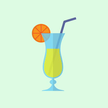 Cocktail icon. Colorful alcohol drink. Vector illustration in flat design.