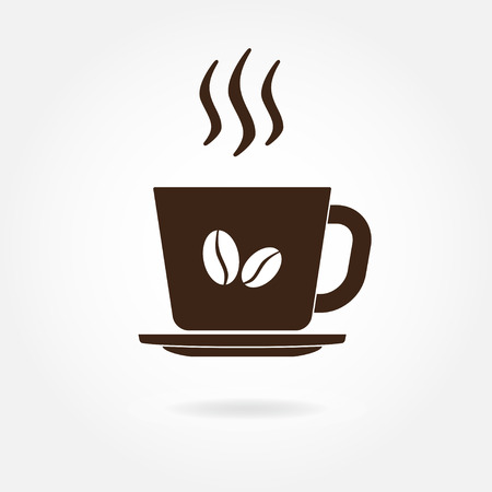 Coffee cup with coffee beans icon or sign. Vector illustration. Illustration