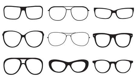 rim: Glasses set. Sunglasses silhouettes isolated on white background. Vector illustration.
