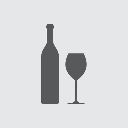 bocal: Wine bottle and wine glass silhouette isolated on white background. Vector icon or sign.