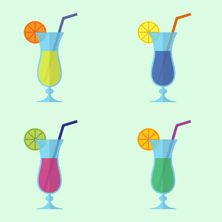 Cocktail icon set in flat design. Alcohol drink. Colorful vector illustration in a flat design. Imagens - 85762326