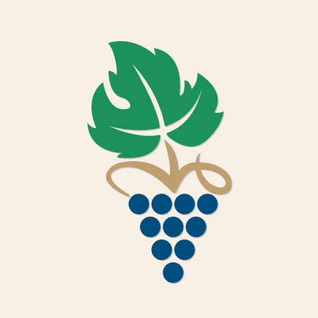 Grape icon or symbol. Design element for winemaking, viticulture, wine house. Colorful vector illustration of bunch of grapes in a flat style.