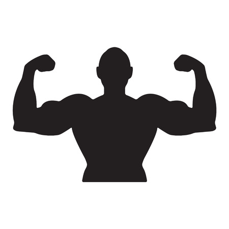 Fitness icon. Bodybuilding icon. Muscle man icon. Fitness icon vector.
