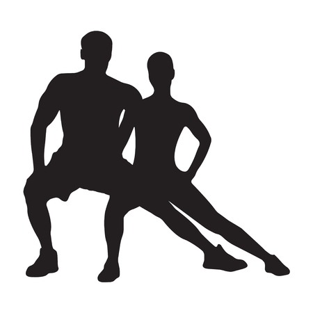 Muscled man and woman black silhouettes isolated on white background. Fitness symbol or label. Vector illustration.