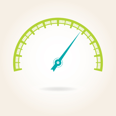 A Speedometer icon or sign with arrow. Infographic gauge element. Colorful vector illustration.