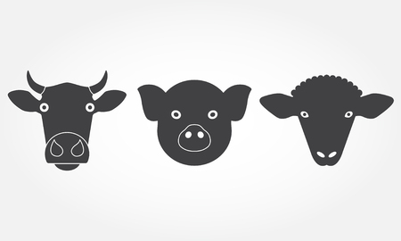 Farm animals set. Cow, pig and sheep head or face icons. Black isolated silhouettes. Vector illustration. Ilustração