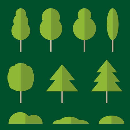 Tree icon set. Design elements of nature in flat style. Vector illustration. 向量圖像
