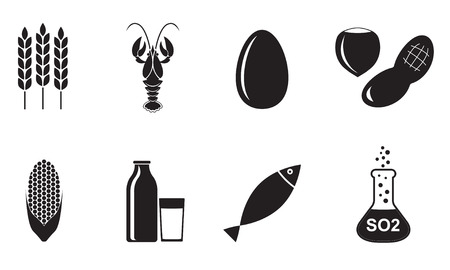 Food allergen icons set isolated on white background. Vector illustration.