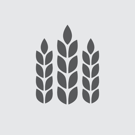 Wheat ears or rice icon. Agricultural symbol. Design elements for bread packaging. Vector illustration. Çizim