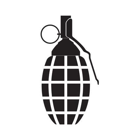 Handgranaat icoon of teken geïsoleerd op een witte achtergrond. Vector Illustratie