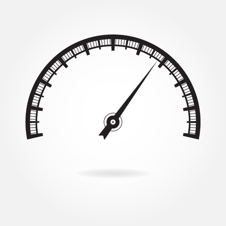 Speedometer icon or sign with arrow. Infographic gauge element. Illustration