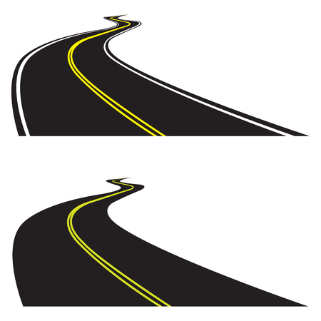 Asphalt road set isolated on white background. Vector illustration of winding road. Perspective view.