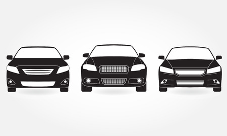 Car front view icon set. Vector illustration of vehicle. Flat design.