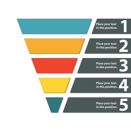 Símbolo de embudo Elemento de diseño infográfico o web. Plantilla para marketing, conversión o venta. Ilustración de vector colorido. Ilustración de vector