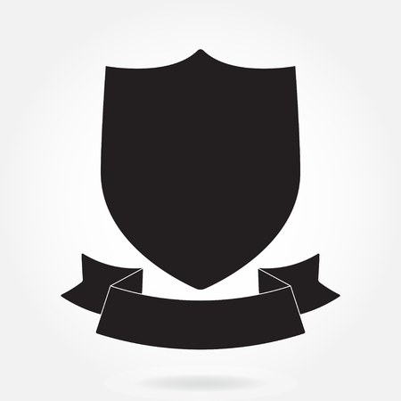 Shield and stylish ribbon isolated on white background. Black shield shape. Heraldic royal design. Vector illustration.