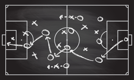 Football or soccer game strategy isolated on blackboard texture with chalk rubbed background. Sport infographics element. Vector illustration.