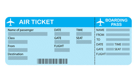 Airline boarding pass ticket isolated on white background. Detailed blank of airplane ticket. Vector illustration.