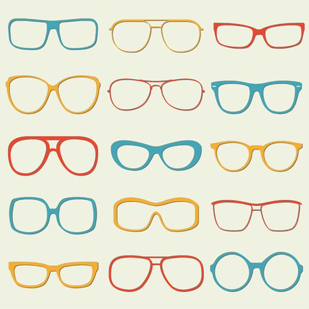 Glasses and sunglasses outline set. Colorful sunglasses silhouettes. Vector illustration. Illustration