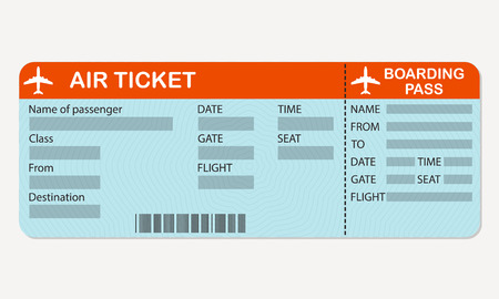 航空会社の搭乗券を渡します。航空券の詳細な空白。カラフルなベクトルの図。