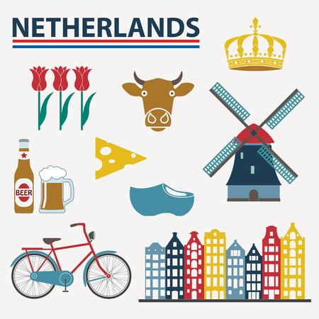Netherlands icon set in flat style. Holland and Amsterdam symbols: wind mill, tulips, bicycle, beer. Template for travel and souvenir design. Colorful vector illustration. Иллюстрация