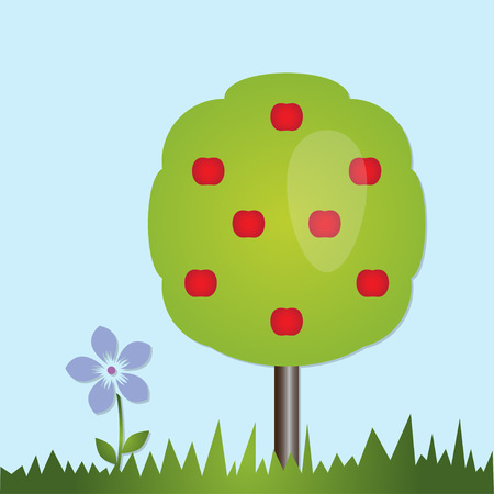 Tree and flower icon. Illustration