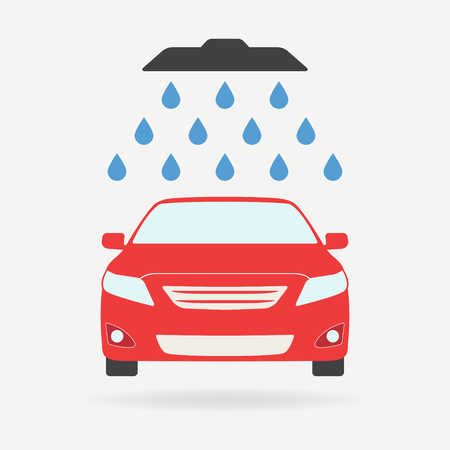 Car wash icon or sign with shower and water drops. Colorful vector illustration of a red vehicle in a flat design. Illustration
