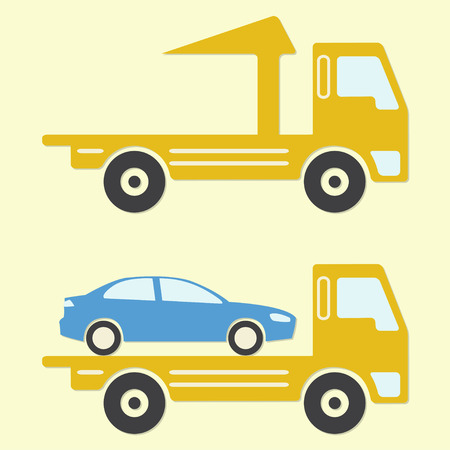 the wrecker: Tow truck or wrecker. Vehicle maintenance and repair. Colorful vector illustration.