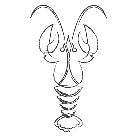 Crawfish or lobster silhouette isolated on white background. Vector icon or sign.