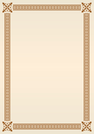 Ornamental frame or border. Certificate, diploma or voucher template. Vector illustration.