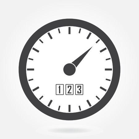 Speedometer icon or sign with arrow. Info-graphic gauge element. Vector illustration.